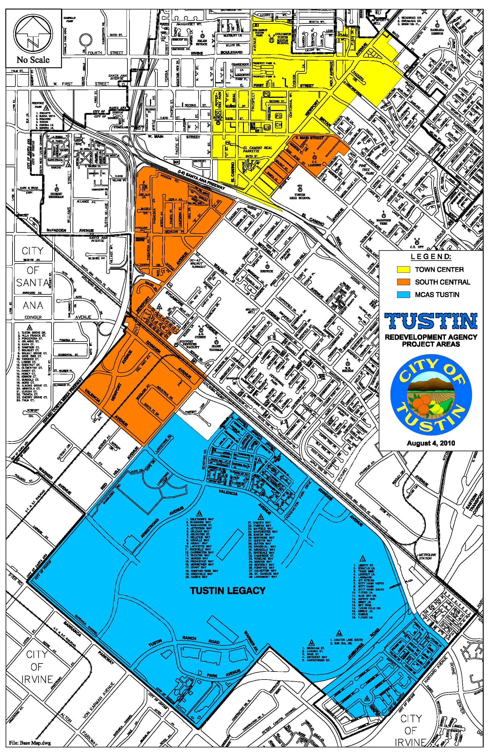 Tustin Map of Redevelopment Project Areas